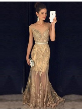 Stunning Illusion Jewel Cap Sleeves Gold Sheath Prom Dress with Beading