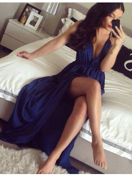 Sexy Deep V Neck Sleeveless Long Dark Blue Prom Dress Pleated with Split