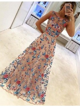 Gorgeous Bateau Sleeveless Floor Length Prom Dress with Sash