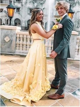Trendy Jewel Sleevless Long Daffodil Prom Dress with Flowers