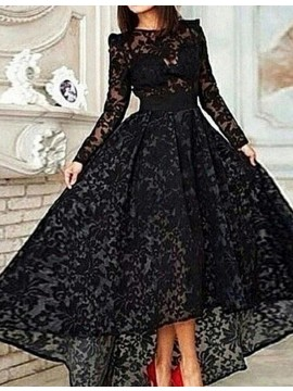Retro Jewel Long Sleeves High Low Black Lace Prom Dress with Sash