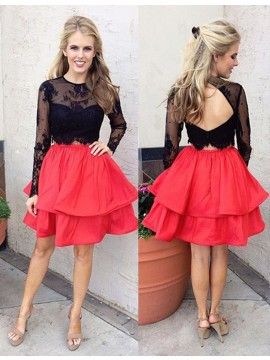 Modern Red Two Piece Jewel Long Sleeves Pleated with Beading Lace Prom Dress