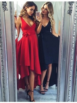 Nice Red/Dark Navy V Neck Sleeveless High Low with Sash Prom Dress