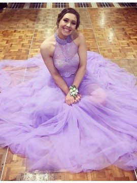 Pretty Lavender Halter Sleeveless Long Backless with Lace Beading Prom Dress
