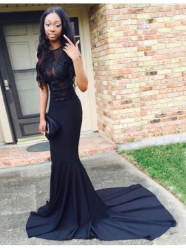Romantic Dark Navy Jewel Sweep Train Mermaid with Lace Appliques Prom Dress
