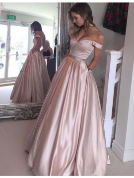 Modern Off-the-Shoulder Long Champagne Prom Dress with Beading Pockets