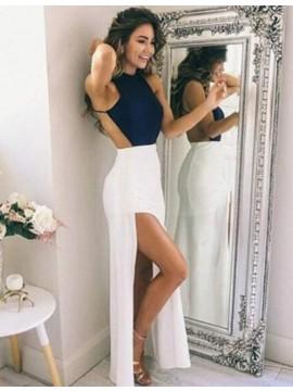 Sheath Jewel Sleeveless Floor-Length Backless Prom Dress with Split