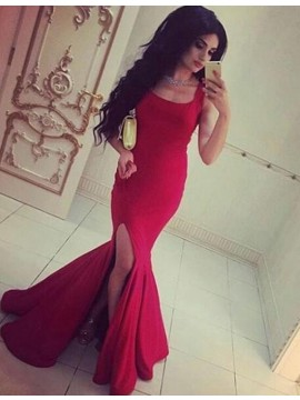 Fashion Rose Pink Square Sleevelesss with Split Long Mermaid Prom Dress