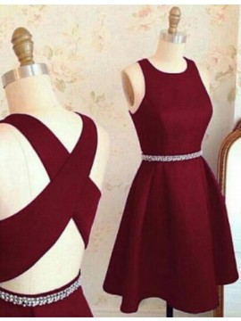 Modern Burgundy Jewel Sleeveless with Beading Short Prom Homecoming Dress