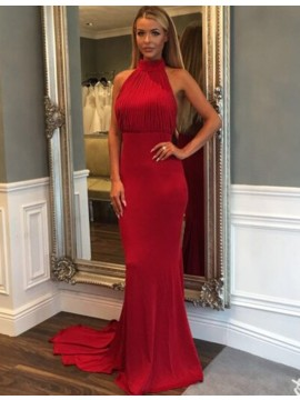 Glamorous Red Halter Backless Sweep Train with Pleats Mermaid Prom Dress