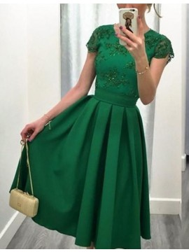 Modern Green Jewel Cap Sleeves Short Pleated with Beading Lace Prom Dress