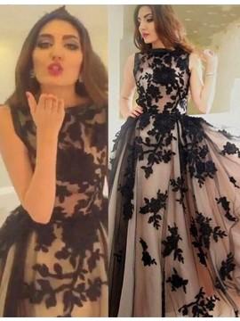 Stunning Blush Bateau Sleeveless with Appliques Long Prom Dress