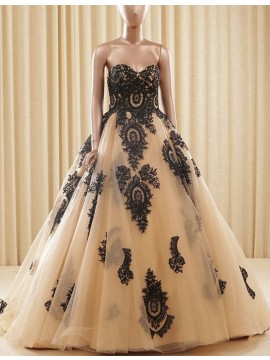 Amazing Champagne Ball Gown Sweetheart with Lace Appliques Long Prom Dress