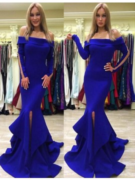 Charming Royal Blue Off Shoulder Long Mermaid with Ruffles Split Prom Dress