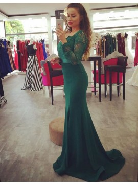 Pretty Hunter Scoop Long Sleeves with Sash Lace Mermaid Prom Dress