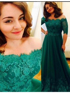 Elegant Green Off Shoulder Half Sleeves Long with Lace Prom Dress