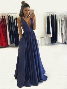 A-Line Deep V-Neck Long Royal Blue Taffeta Prom Dress with Pockets