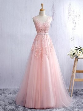 Long Prom Dress with Appliques (In Stock)