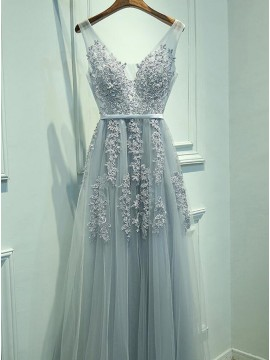 A-Line V-Neck Light Blue Tulle Prom Dress with Appliques