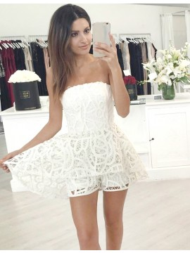 White Lace Strapless Sleeveless Short Homecoming Cocktail Dress