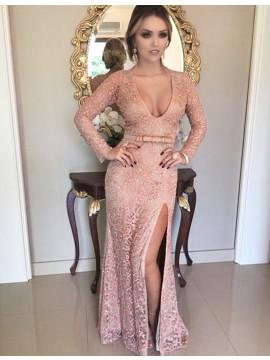 Sheath Pink Long Sleeves Lace Scoop Beading Split Sash Cocktail  Dress