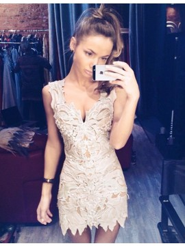 Sheath Light Champagne Lace Deep V-neck Short Cocktail Homecoming Dress