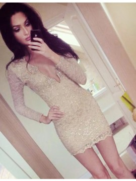 Sheath Light Champagne Long Sleeves Lace Deep V-neck Beading Short Cocktail Dress