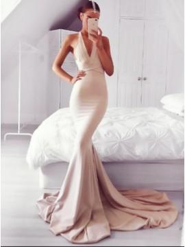 Mermaid V-Neck Court Train Blush Backless Prom Dress with Sash