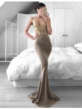 Mermaid Deep V-neck Dark Grey Sweep Train Prom Dress with Lace