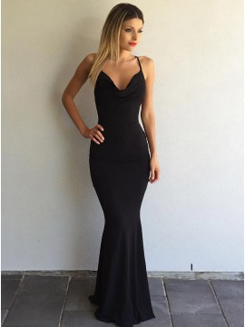 Mermaid Spaghetti Straps Floor-Length Black Prom Dress