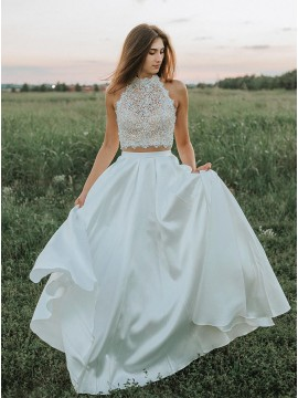Two Piece High Neck Open Back White Prom Dress with Lace