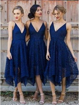 A-Line Spaghetti Straps Dark Blue Lace Bridesmaid Dress