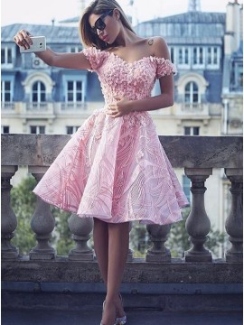 A-Line Off the Shoulder Pink Homecoming Dress Satin Short Prom Dress with Appliques