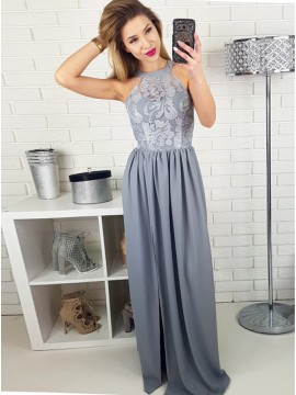 A-line Round Neck Grey Satin Prom Dress with Lace Split