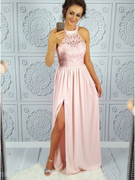A-Line Crew Floor-Length Pink Prom Dress with Lace Split