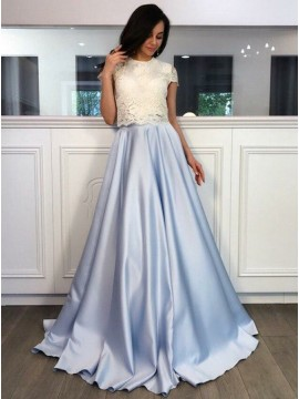 Two Piece Round Neck Light Blue Satin Prom Dress with Lace