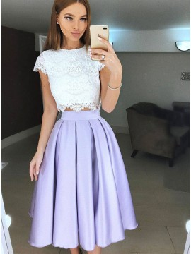 Two Piece Crew Tea-Length Lilac Prom Homecoming Dress with Lace Pleats