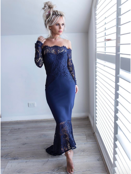 Mermaid Off-the-Shoulder Prom Dress Long Sleeves Navy Blue Cocktail Dress