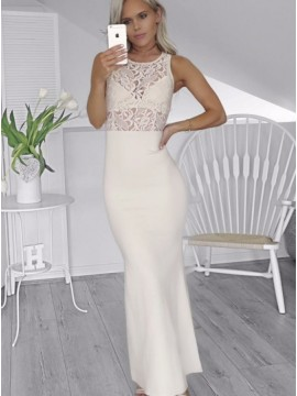 Sheath Round Neck Ivory Stretch Satin Prom Dress with Lace
