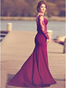 Mermaid Sweetheart Sweep Train Long Sleeves Burgundy Stretch Satin Prom Dress with Appliques
