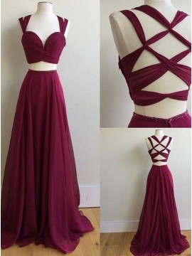 A-Line Two Piece Open Back Sleeveless Chiffon Burgundy Long Prom Dress