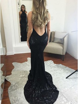 Mermaid Halter Backless Evening Dress Sweep Train Black Sequin Prom Dress