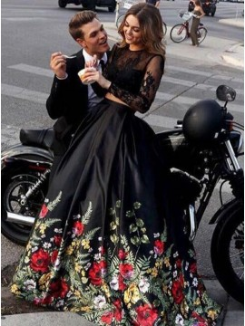 Two Piece Round Neck Long Sleeves Sweep Train Black Floral Prom Dress