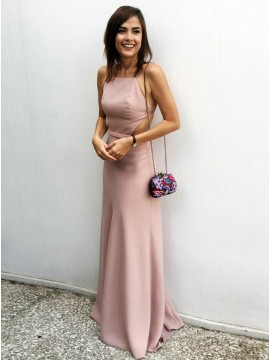 Sheath Spaghetti Straps Floor-Length Backless Blush Prom Dress