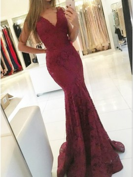Mermaid V-Neck Sweep Train Burgundy Lace Prom Dress