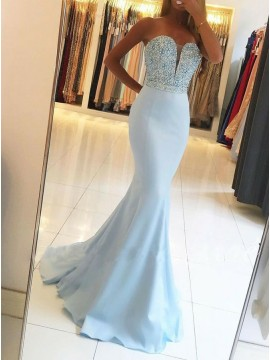 Mermaid Sweetheart Sweep Train Blue Prom Dress with Beading