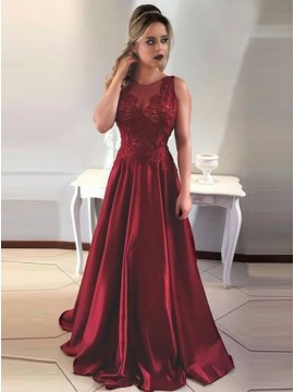 A-Line Round Neck Backless Burgundy Prom Dress with Appliques
