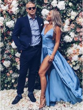 A-Line Spaghetti Straps Backless Blue Prom Dress with Split