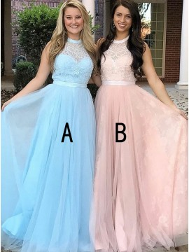 A-Line Round Neck Long Blue Tulle Prom Dress with Appliques