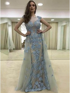A-Line Round Neck Cap Sleeves Blue Tulle Prom Dress with Beading Flowers